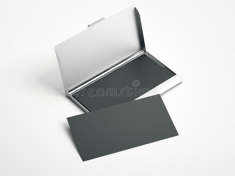 Metal case with white blank business cards . 3d rendering royalty free illustration