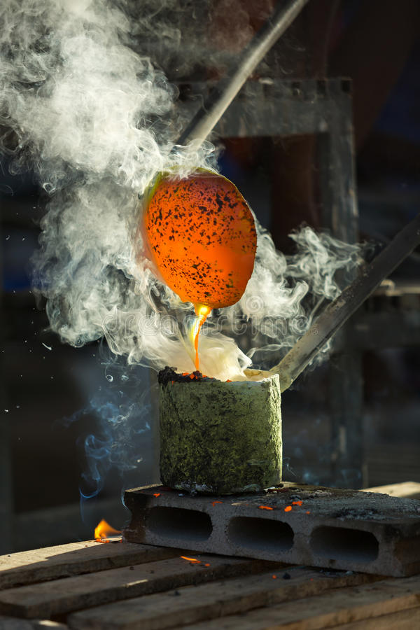 Metal Casting. Casting the heat pouring off the production blocks royalty free stock photo