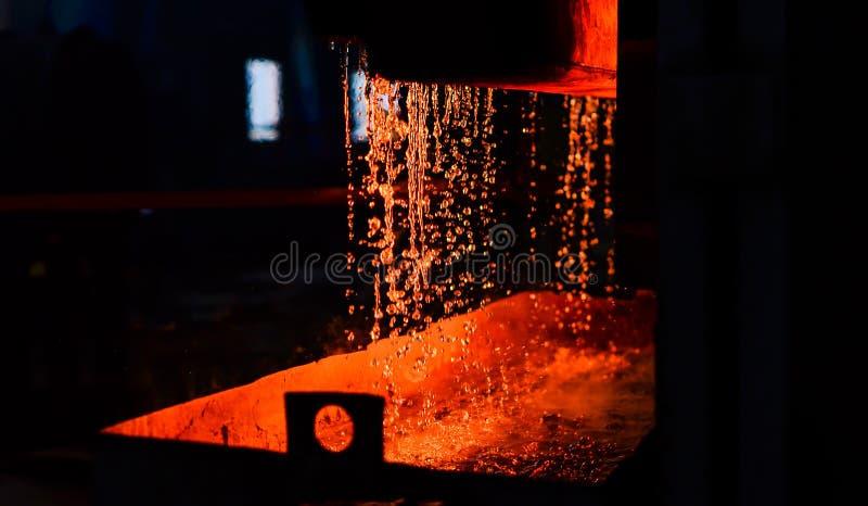 Metal on casting. Metallurgy. Steelmaking plant and steelmaking workshop stock image