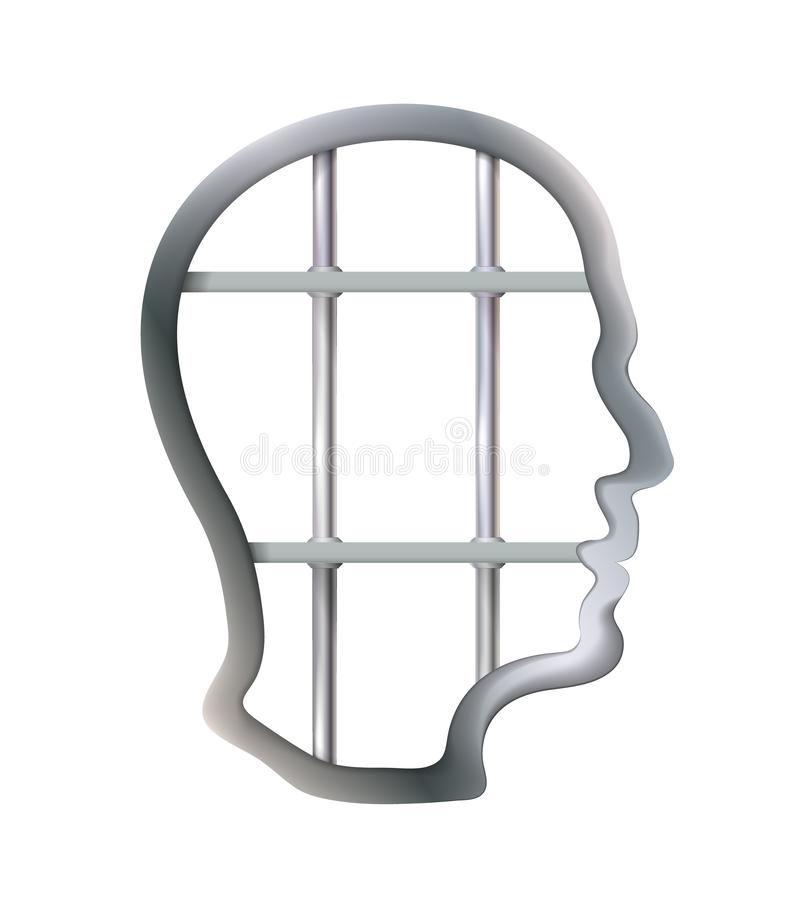 Metal cell in human head being jail, struggle, lack creativity, restrictions freedom of thought concept. Business. Isolated stock illustration