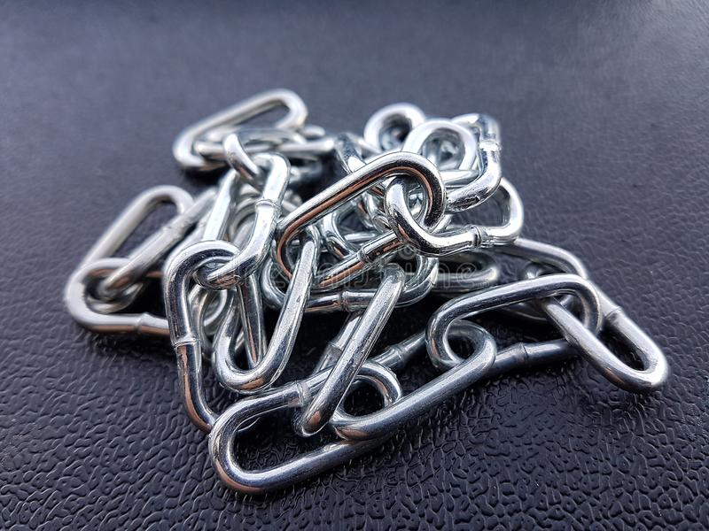 Metal chain iron texture background, chrome strong protect stock photo