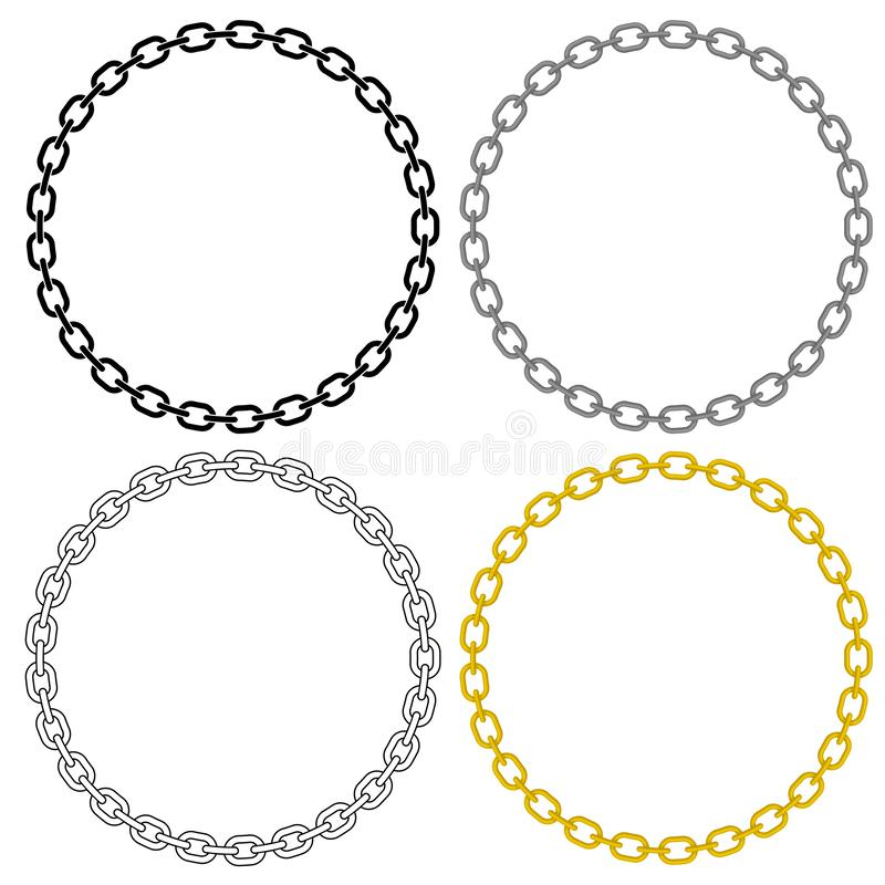 Metal Chain Link Circle Vector Illustration. Metal chain links, sharp clean vector illustration, linked in a perfect circle, in black fill, black outline, grey royalty free illustration
