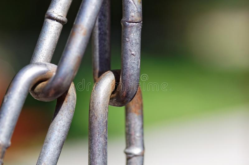 Metal chain links close up royalty free stock photo