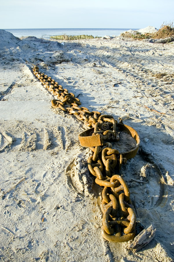 Download Metal Chain Lying On The Beach Stock Image - Image: 1950911