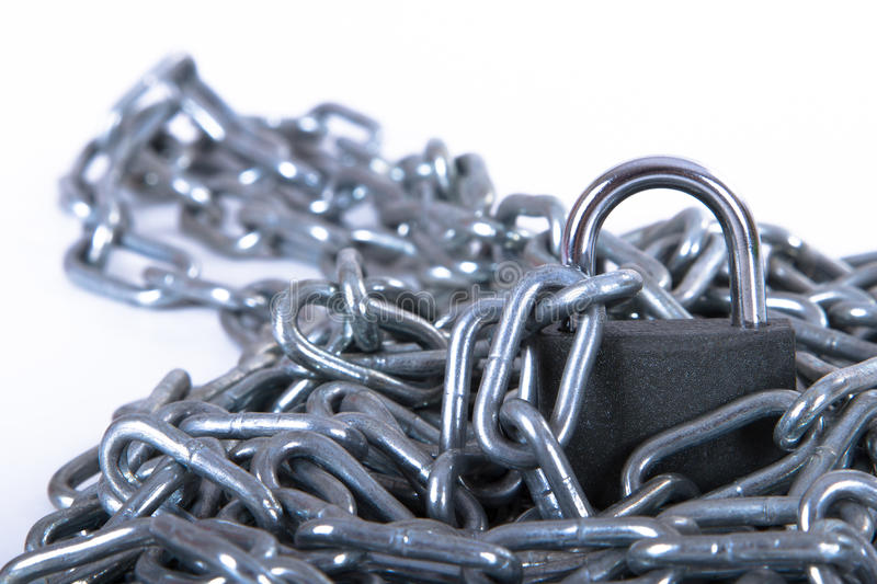 Metal Chain and Security Lock royalty free stock photography
