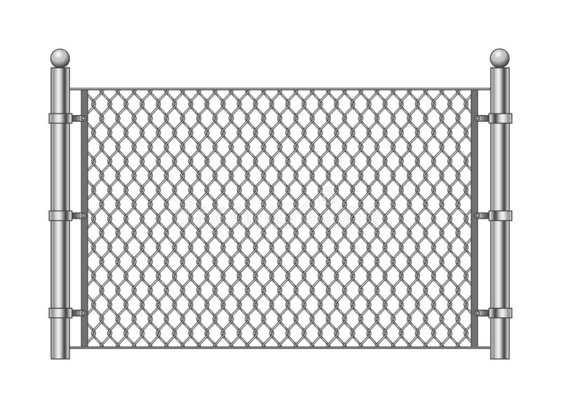 Metal chainlink fence. Vector steel linked chains fencing, enclosure pattern item isolated on white background royalty free illustration