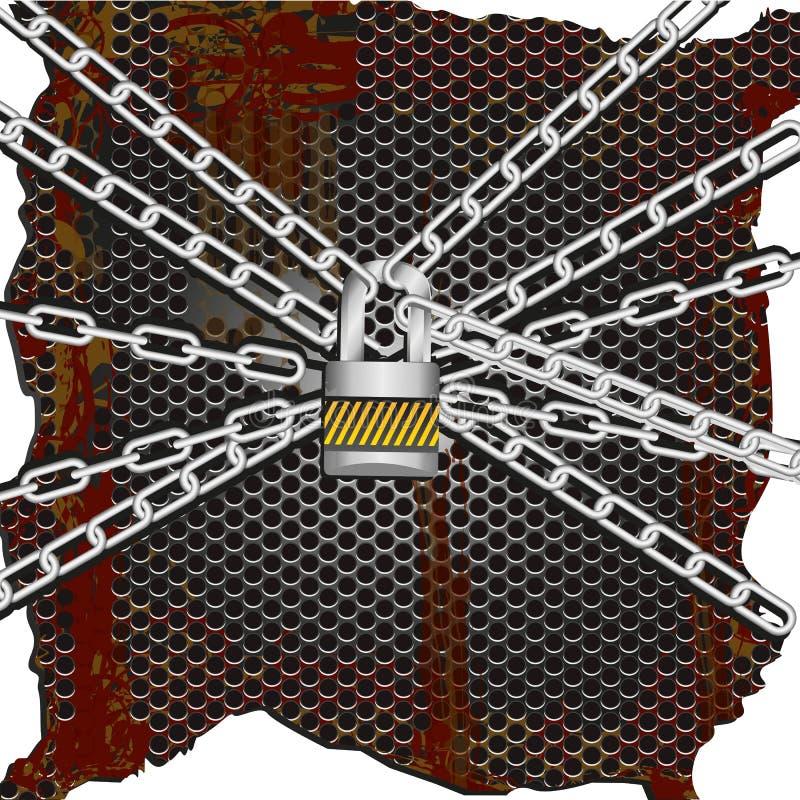 Metal chains lock vector illustration