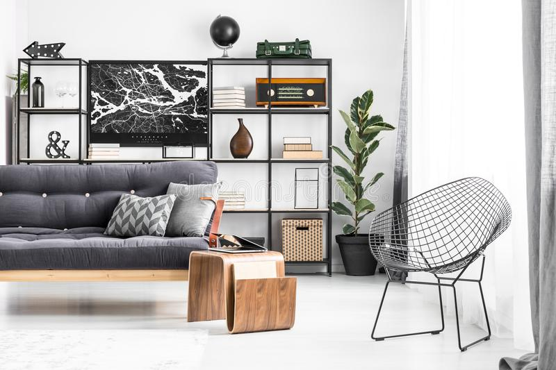 Metal chair in living room stock images