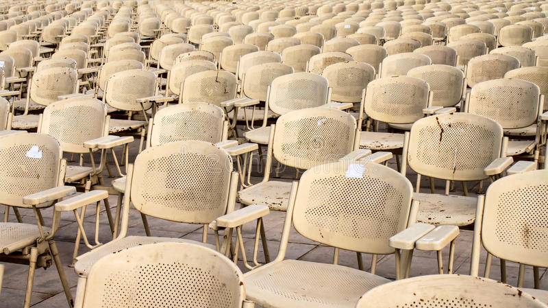 Metal chairs near Sphinx statue for evening show in Cairo, Egypt. Metal chairs placed in patterns near Sphinx statue for evening show in Cairo, Egypt royalty free stock image