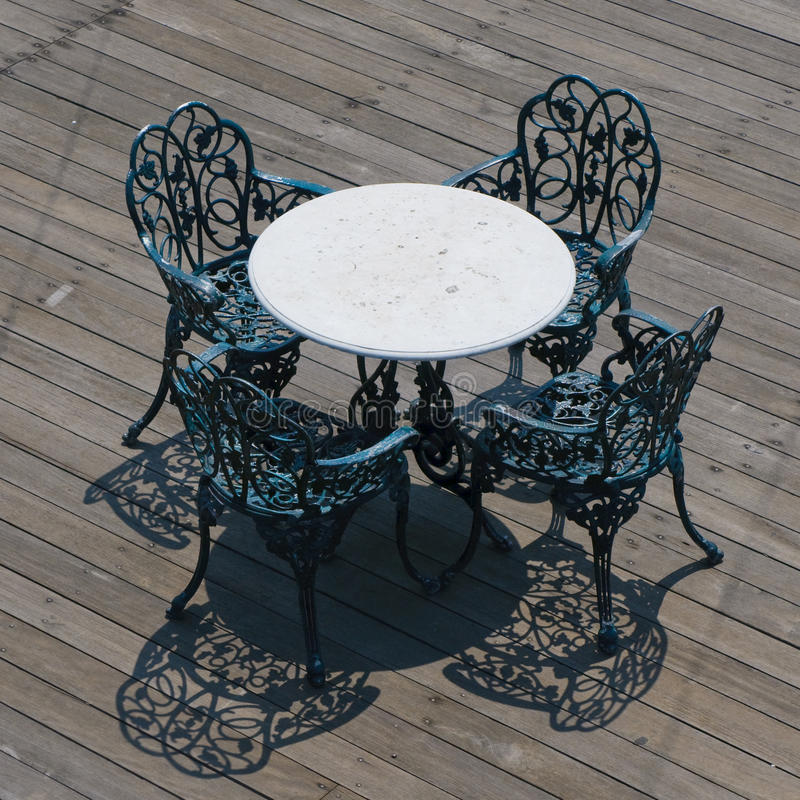 Download Metal Chairs And Round Table Stock Photo - Image: 9412046
