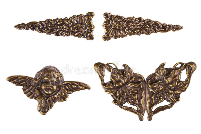 Metal Cherub & Angel Wings. Vintage Bronze Metal Cherub & Angel Wings - Decorating Hardware for Scrapbooks, Picture Frames, Furniture or Books and Albums royalty free stock photos