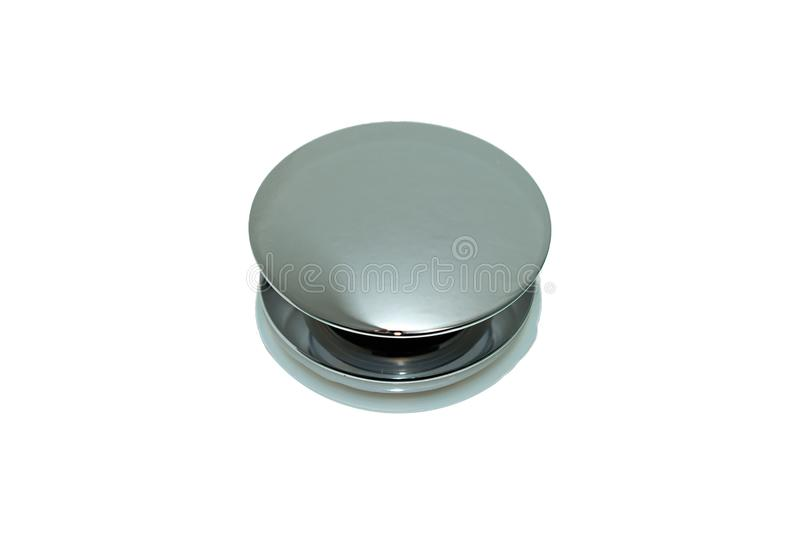 Metal chrome button. Wash-basin click clack waste, metal, big plug chrome button isolated on white background stock image