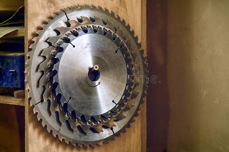 metal circular saw blades royalty free stock photo