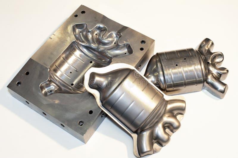 Metal cnc details. Milling industry. Metal cnc parts/ details/ products. Industrial metal die/blank. Metalworking stock image