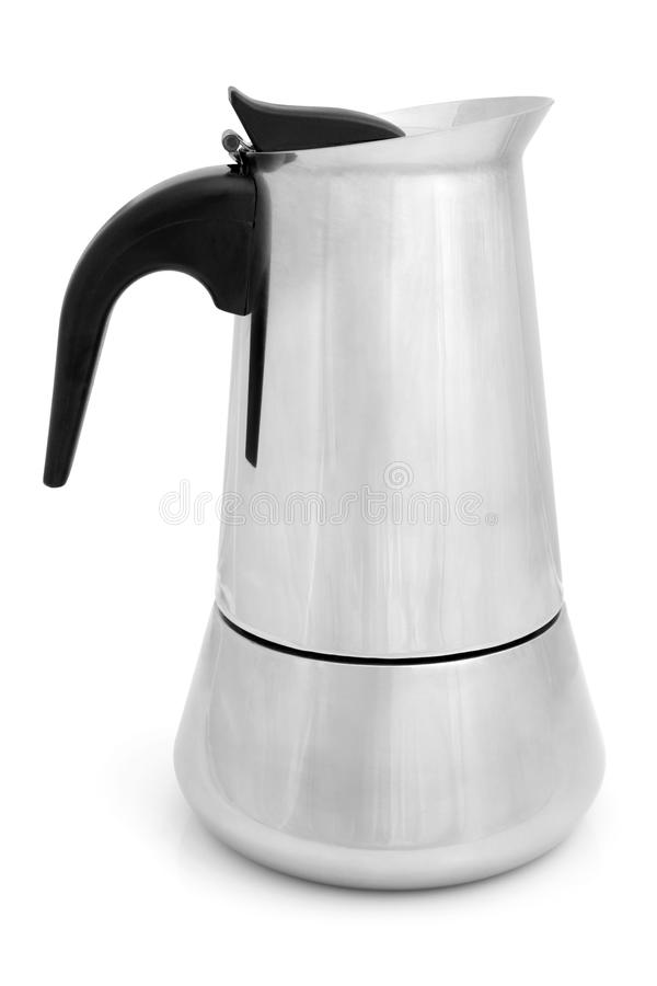 Metal coffeepot. On a white background stock images