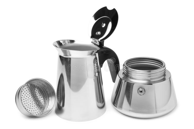 Metal coffeepot. On white background stock photography