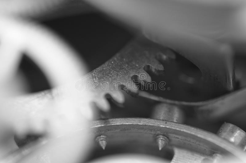 Metal Cogwheels, Black and white Macro Photo. royalty free stock photography