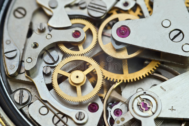 Metal Cogwheels in Clockwork, Concept Teamwork. Idea Technology royalty free stock image