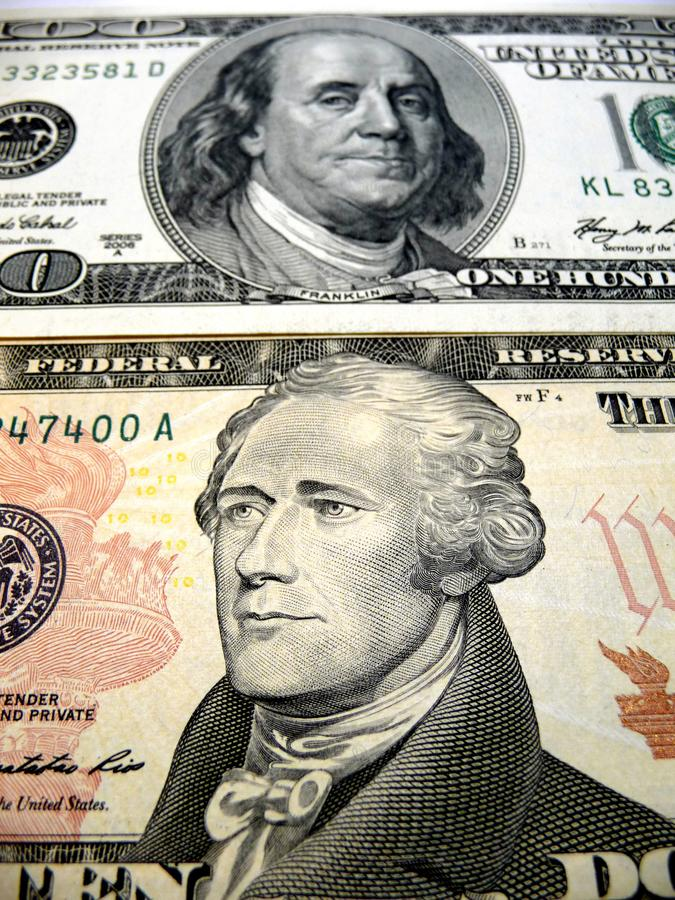 Metal coins of the Bank of USA. Cash. Piggy Bank Ten-ruble coins stock photo