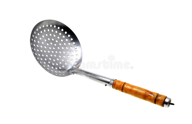Metal Colander isolated on white background royalty free stock images
