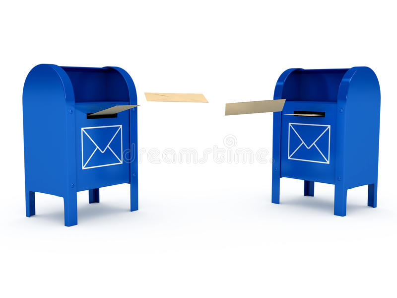 Metal color mailbox over white background royalty free illustration