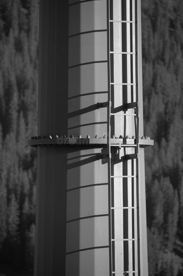Metal column of a ski lift. A monochrome image royalty free stock photo