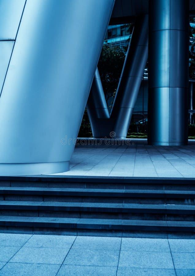 Metal columns in modern futuristic architecture stock photos