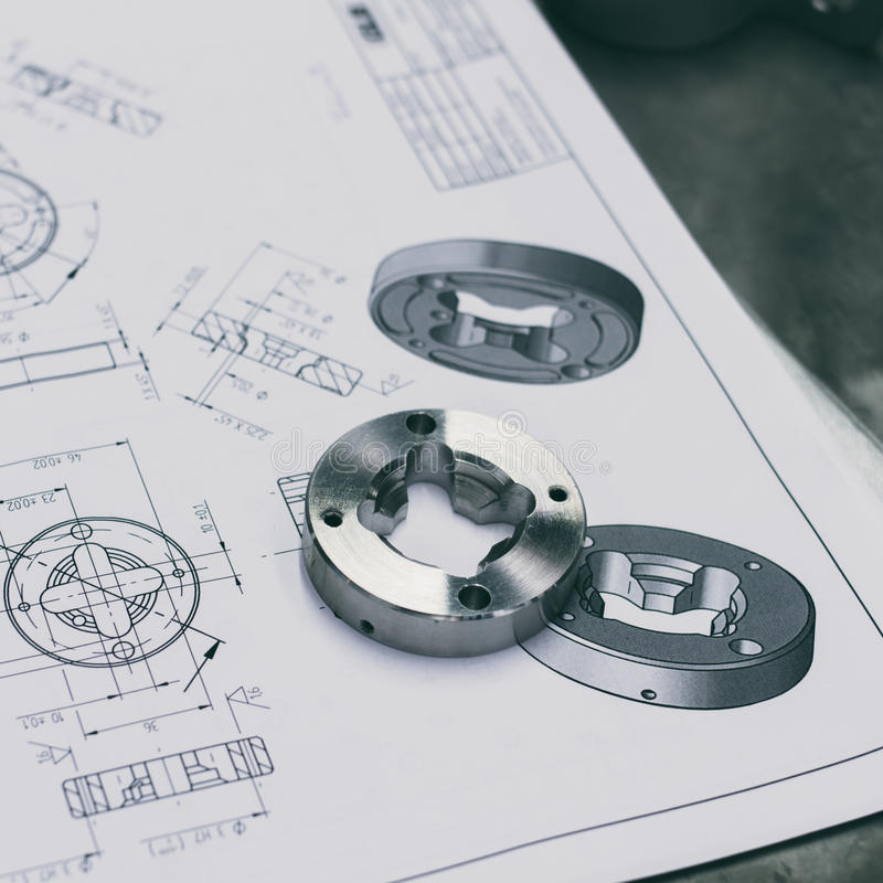 Metal component. Measuring metal component with draw royalty free stock photography