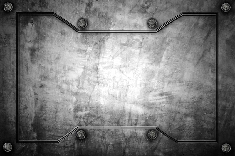 Metal or concrete wall with metal frame for background and texture vector illustration