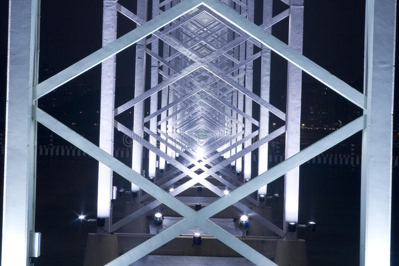 Metal Construction of bridge stock images