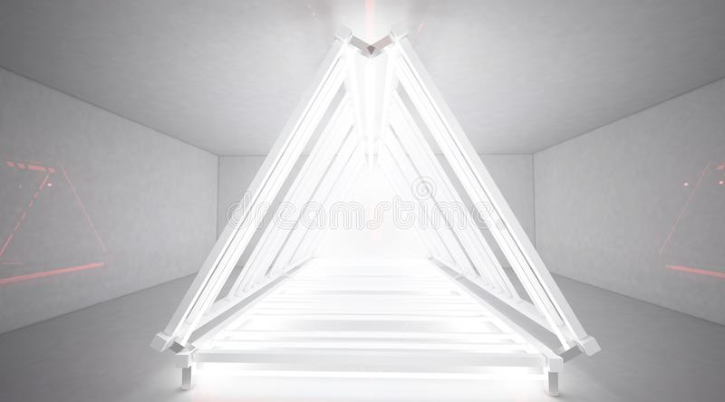 The metal construction with a triangle is highlighted by a new light, thick smoke, smog. Tunnel Corridor, Reflections 3D Rendering stock illustration