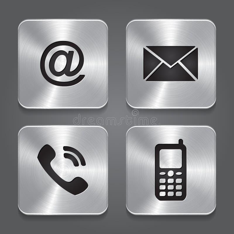 Metal Contact Buttons - Set Icons. Stock Photos