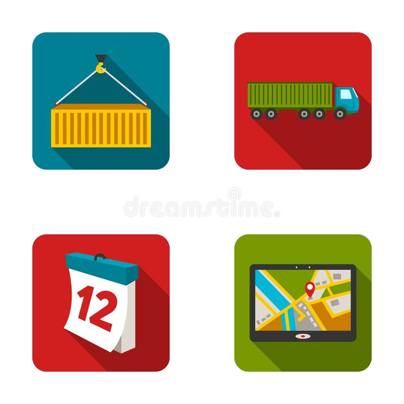 Metal container, calendar, truck, GPS navigator.Logistic set collection icons in flat style vector symbol stock vector illustration