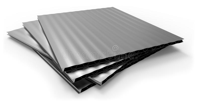 Metal corrugated sandwich panel. Isolated on white royalty free illustration