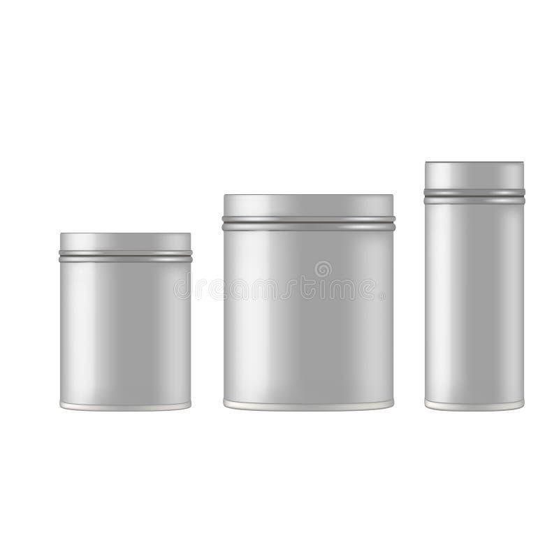 Metal cosmetic jar for cream, scrub, gel, powder. Vecto mockup. Metal cosmetic jar for cream, scrub, gel, powder. Vecto mockup stock illustration