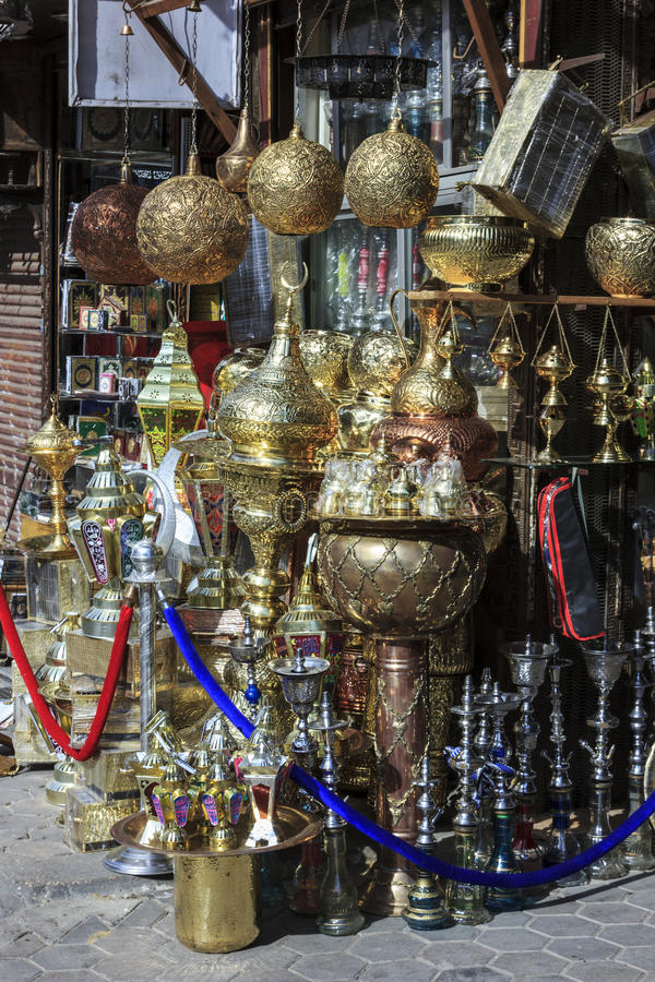 Metal craft shop in Cairo. Egypt royalty free stock image