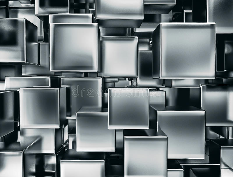 Metal cubes background royalty free stock photos