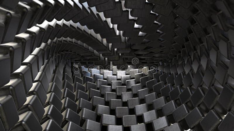 Metal cubes background. 3D render background of metallic cubes stock image