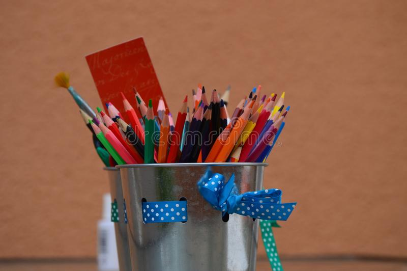 A rainbow of pencils royalty free stock images