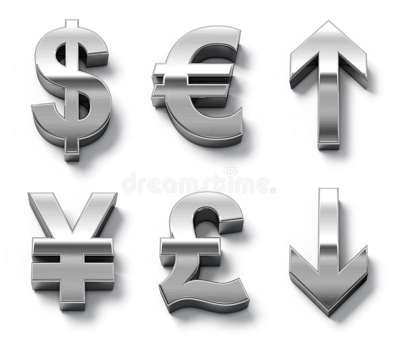 Download Metal Currency Symbols And Arrows Stock Illustration - Illustration of europe, chrome: 14631481