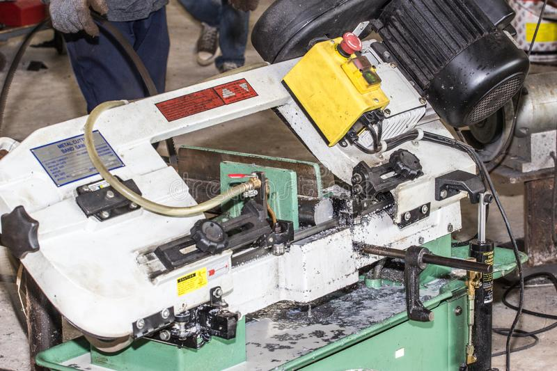 Metal cutting band saw. For industrial use stock photography