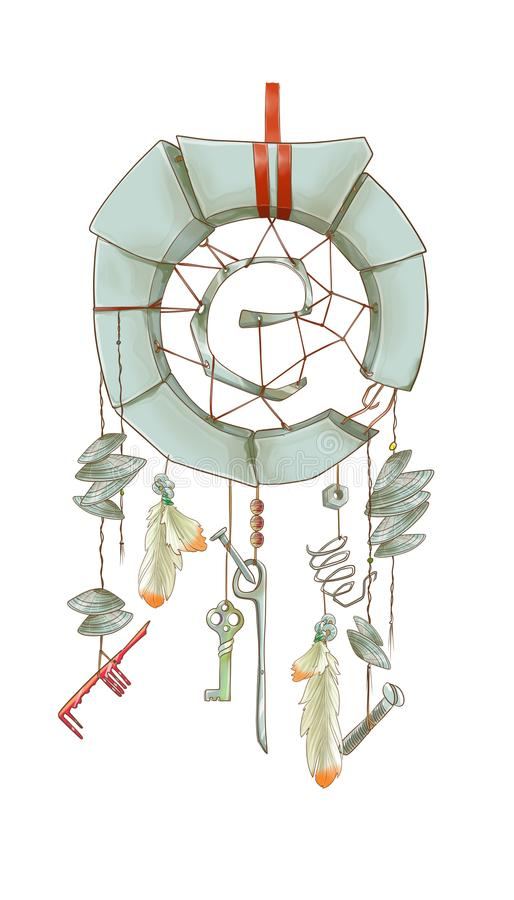 Metal dżonki dreamcatcher z seashells royalty ilustracja