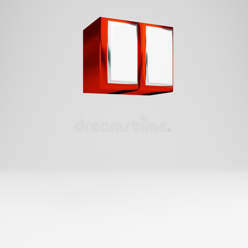 Metal 3d double quotes symbol. Metallic red and white font isolated on white background. Metall double quotes symbol isolated on white. 3D rendered red and white vector illustration