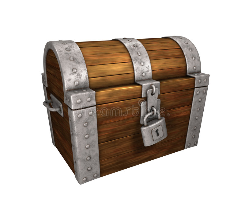 Metal da caixa de tesouro fechado e travado ilustração royalty free