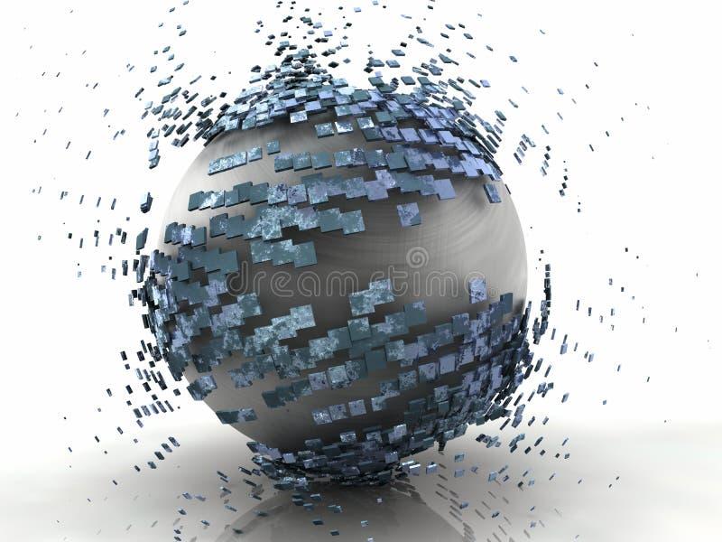 Metal da explosão 3D da esfera ilustração royalty free