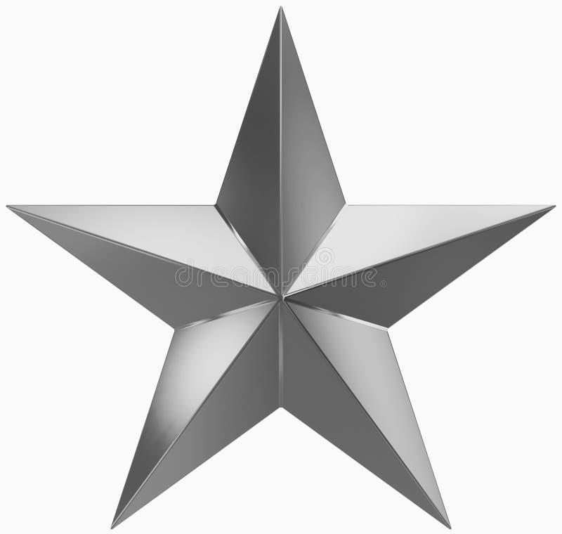 Metal de la estrella de la Navidad - estrella de 5 puntos - aislado en blanco ilustración del vector