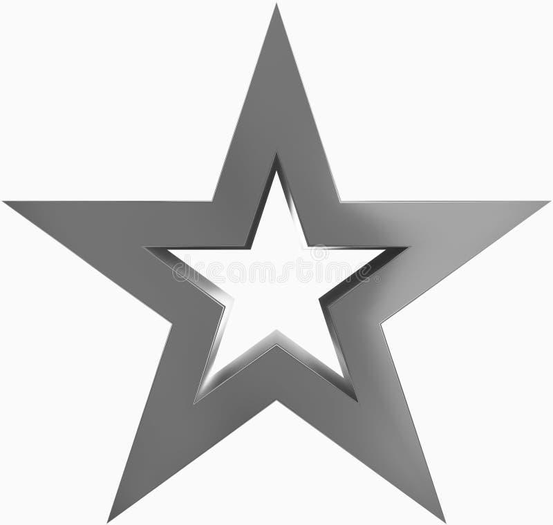 Metal de la estrella de la Navidad - estrella resumida de 5 puntos - aislado en blanco stock de ilustración