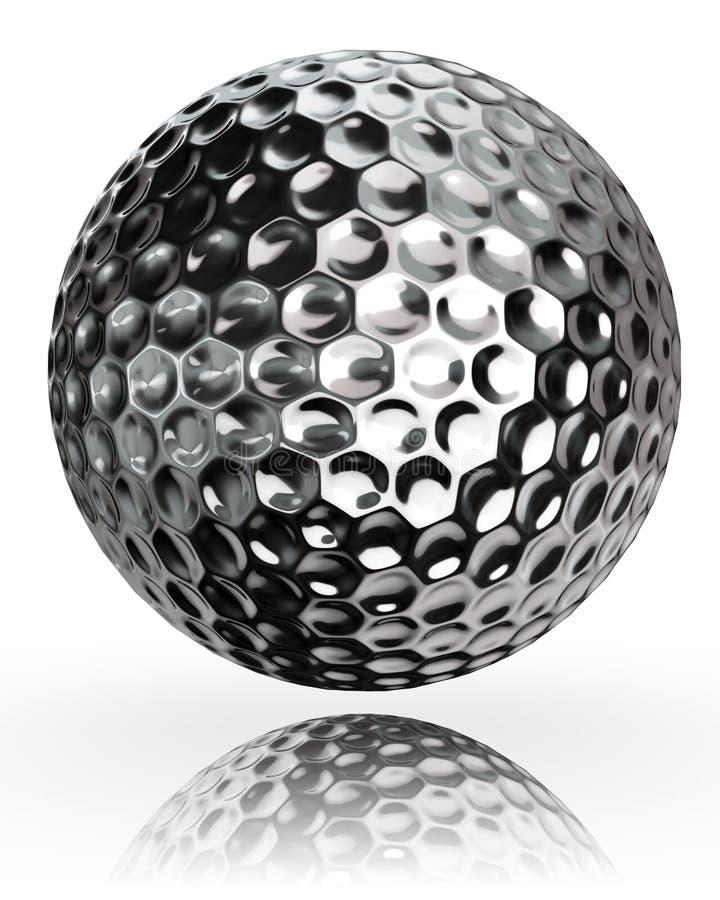 Metal de prata da bola de golfe ilustração stock