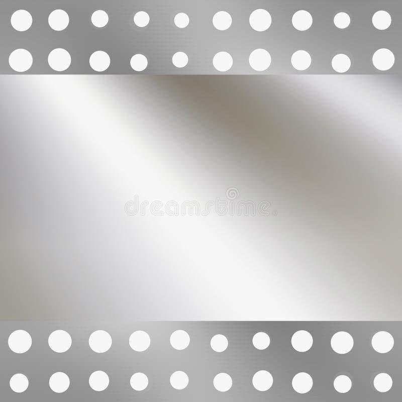 Metal de prata em furos ou em pontos ilustração do vetor