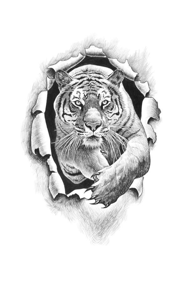 Metal de salto dos perfuradores do tigre ilustração stock